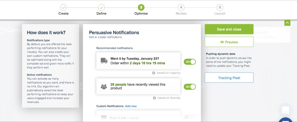 Convertize - Persuasive Notifications Workspace