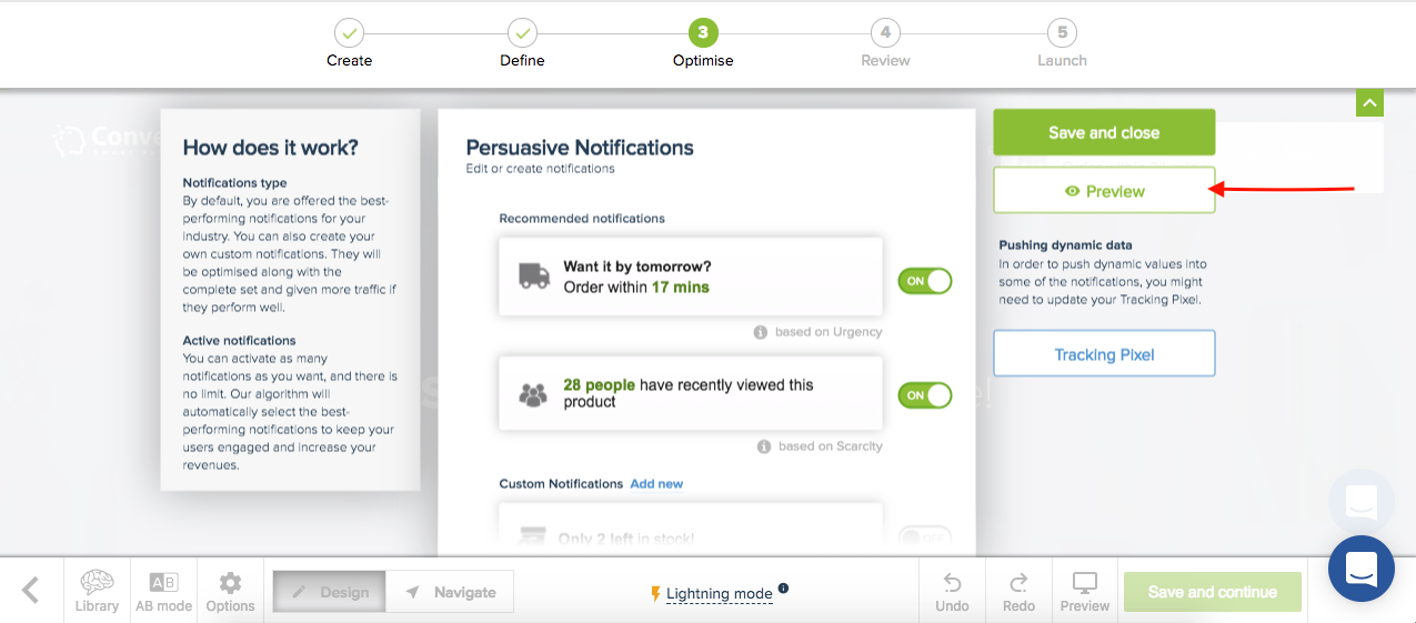 Persuasive Notifications Workspace preview