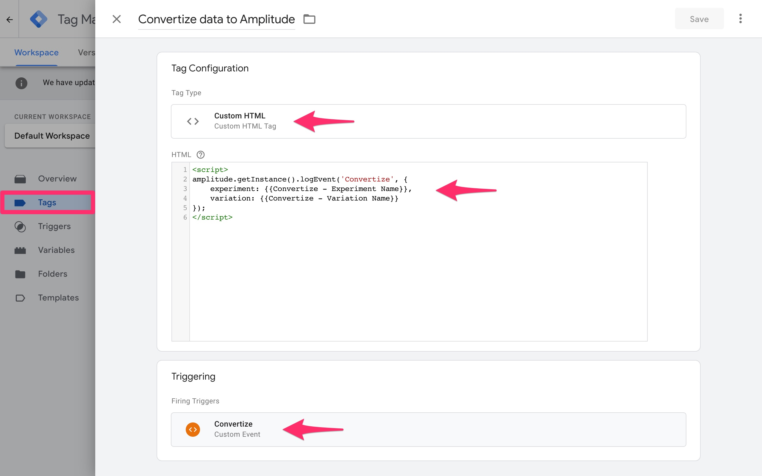 google tag manager convertize