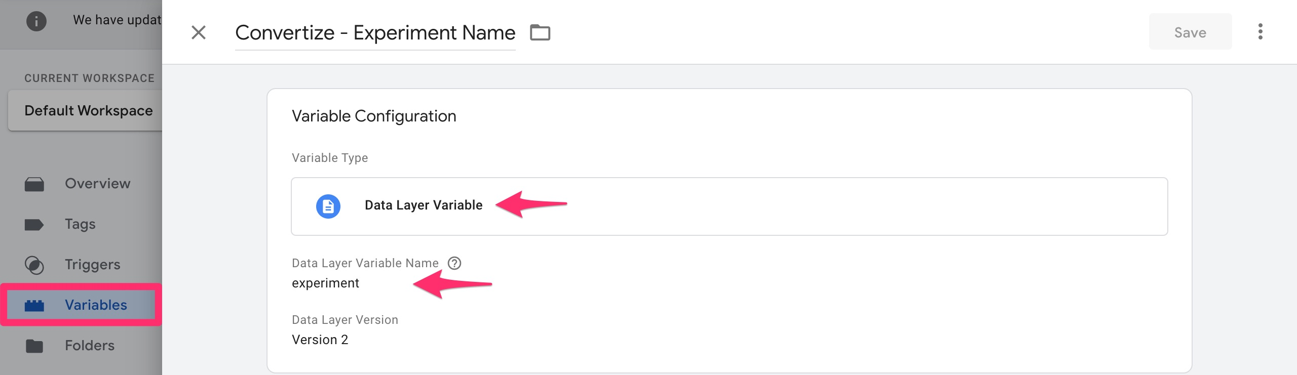 google tag manager experiment variable