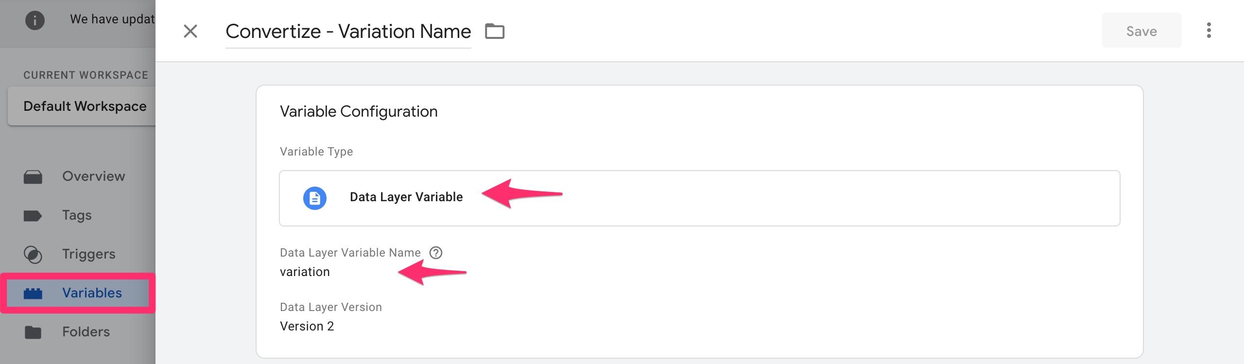 google tag manager variation variable